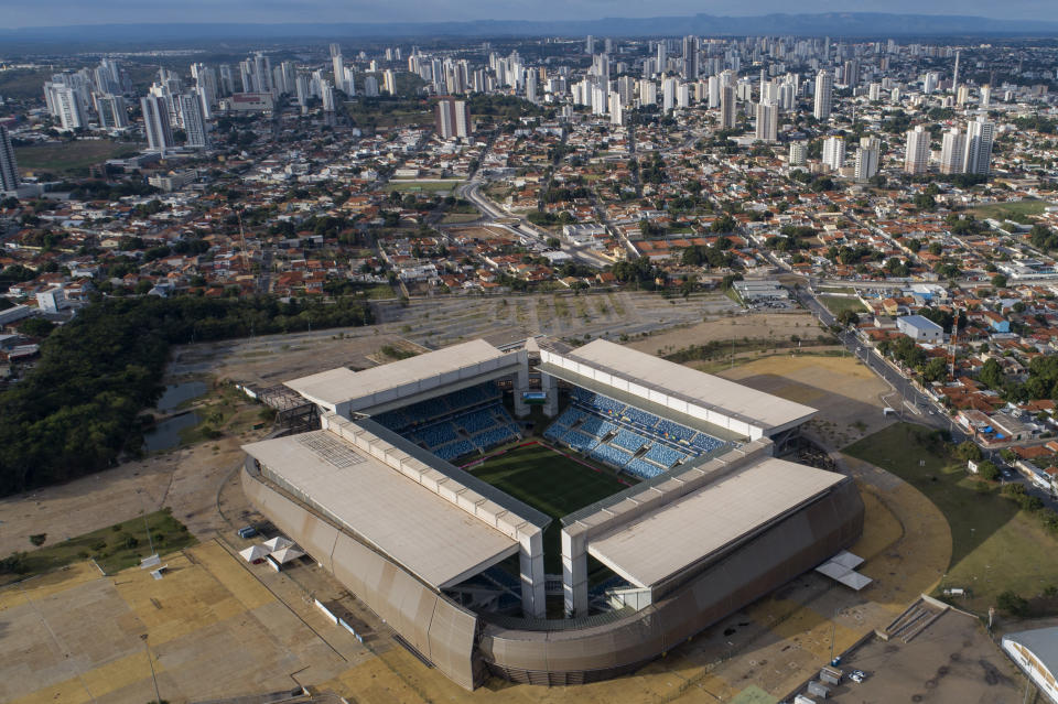 An aerial view of the Arena Pantanal stadium which will host Sunday's Copa America soccer match between Colombia and Ecuador, in Cuiaba, Brazil, Saturday, June 12, 2021. (AP Photo/Andre Penner)