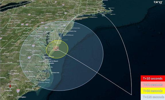 This map shows the predicted zones of visibility of the Black Brant XII suborbital rocket that will launch June 4, 2013, from Wallops Island, Va.