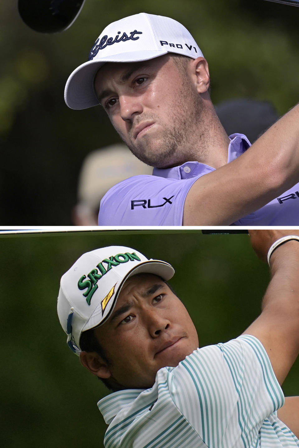 FILE - Justin Thomas, top, watches his tee shot on the first hole during the first round of the PNC Championship golf tournament in Orlando, Fla., in a Saturday, Dec. 19, 2020, file photo. Hideki Matsuyama, bottom, tees off on the fourth hole during the third round of the Masters golf tournament in Augusta, Ga., in a Saturday, April 10, 2021, file photo. The PGA Championship is scheduled for May 20-23, 2021, at Kiawah Island in South Carolina. (AP Photo/Gregory Bull, File)