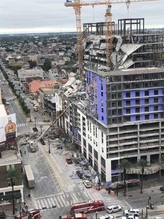 Damage is seen after a portion of a Hard Rock Hotel under construction collapsed in New Orleans, Louisiana