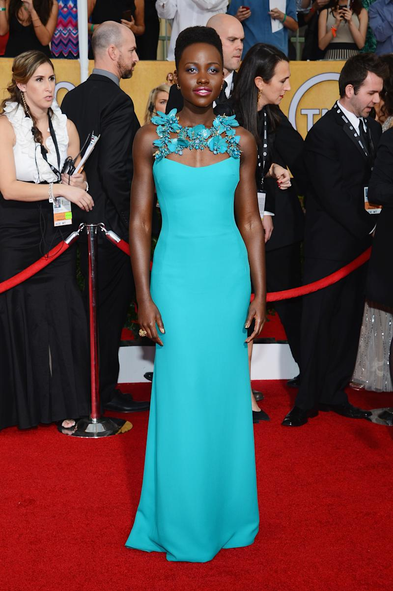 Though nothing could diminish our love for Nyong'o, her outfit of choice for the SAG Awards—a turquoise Gucci dress and matching makeup—was a little too blue for our tastes.
