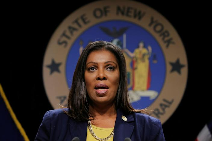 New York State Attorney General, Letitia James, announces a lawsuit by the state of New York against e-cigarette maker Juul Labs Inc in New York City, U.S., November 19, 2019. She is also leading the charge into a Facebook probe. REUTERS/Lucas Jackson