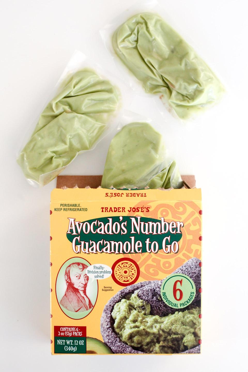 <p>The refrigerated guacamole from Trader Joe's is one of the best store-bought versions you can find. You can either opt for this box of individually wrapped portions or the original Avocado's Number Guacamole. It's got a nice kick from jalapeño, but it's not overly spicy.</p>