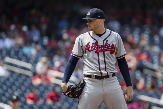 "<a class=""link rapid-noclick-resp"" href=""/mlb/teams/atlanta/"" data-ylk=""slk:Braves"">Braves</a> pitcher <a class=""link rapid-noclick-resp"" href=""/mlb/players/9868/"" data-ylk=""slk:Sean Newcomb"">Sean Newcomb</a>'s postgame frustration on Saturday ignited a fire extinguisher. (Photo by Scott Taetsch/Getty Images)"