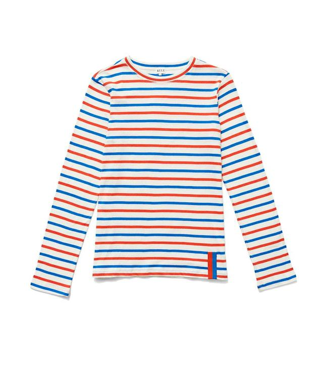 "<p>The Modern Long in Cream/Royal Blue/Red, $98, <a href=""https://www.kule.com/collections/stripes/products/the-modern-long-cream-royal-blue-red"" rel=""nofollow noopener"" target=""_blank"" data-ylk=""slk:kule.com"" class=""link rapid-noclick-resp"">kule.com </a> </p>"