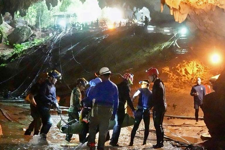 The boys were transported through the cave in a complex rescue operation