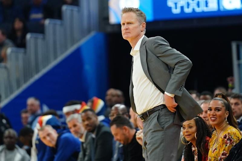 SAN FRANCISCO, CALIFORNIA - JANUARY 16: Head coach Steve Kerr of the Golden State Warriors signals to his team during the first half against the Denver Nuggets at the Chase Center on January 16, 2020 in San Francisco, California. NOTE TO USER: User expressly acknowledges and agrees that, by downloading and/or using this photograph, user is consenting to the terms and conditions of the Getty Images License Agreement. (Photo by Daniel Shirey/Getty Images)