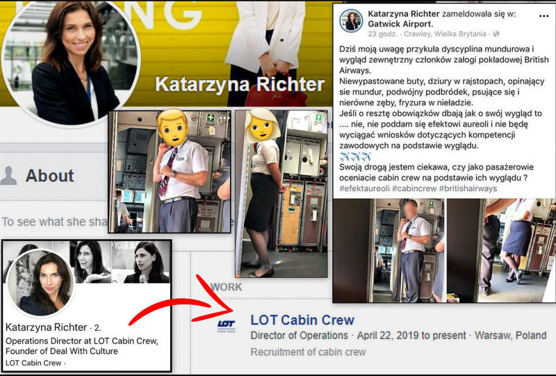Polish airline boss Katarzyna Richter‎ appeared to fat-shame British Airways cabin crew on Facebook, who were working on her flight. Source: A Fly Guy's Cabin Crew Lounge / Facebook