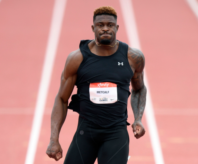 WALNUT, CALIFORNIA - MAY 09: DK Metcalf reacts as he finishes in the Men 100 Meter Dash.