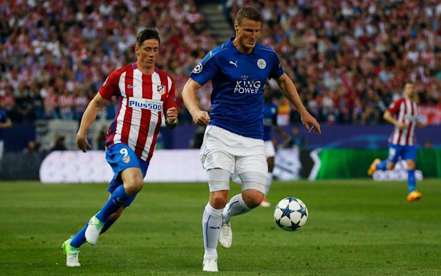 <span>Leicester will miss Robert Huth in the home leg</span> <span>Credit: Reuters/Sergio Perez </span>