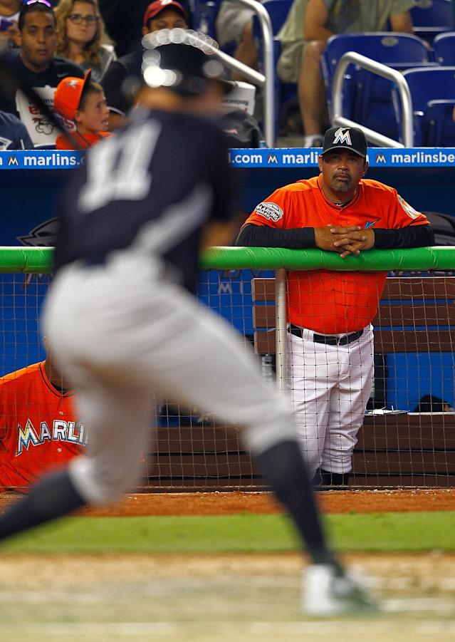MIAMI, FL - APRIL 01: Manager Ozzie Guillen #13 of the Miami Marlins looks on during a game against the New York Yankees at Marlins Park on April 1, 2012 in Miami, Florida. (Photo by Mike Ehrmann/Getty Images)