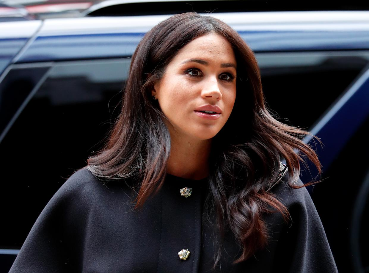 LONDON, UNITED KINGDOM - MARCH 19: (EMBARGOED FOR PUBLICATION IN UK NEWSPAPERS UNTIL 24 HOURS AFTER CREATE DATE AND TIME) Meghan, Duchess of Sussex visits New Zealand House to sign a book of condolence on behalf of The Royal Family following the recent terror attack which saw at least 50 people killed at a Mosque in Christchurch on March 19, 2019 in London, England. (Photo by Max Mumby/Indigo/Getty Images)