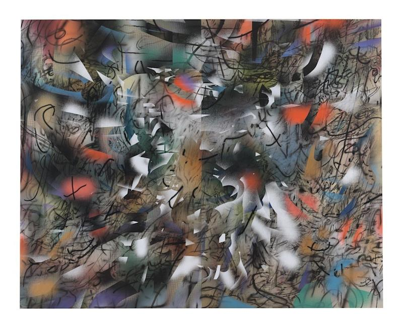 Julie Mehretu, Haka (and Riot), 2019, ink and acrylic on canvas, 144 × 180 in., courtesy of the artist and Marian Goodman Gallery, New York, © Julie Mehretu.