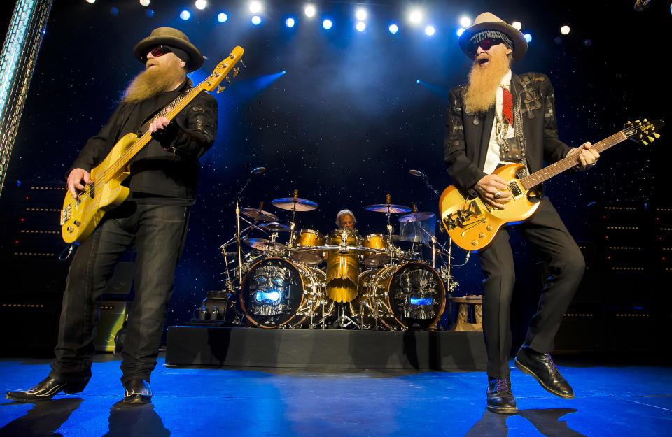 Dusty Hill, from left, Frank Beard and Billy Gibbons of ZZ Top