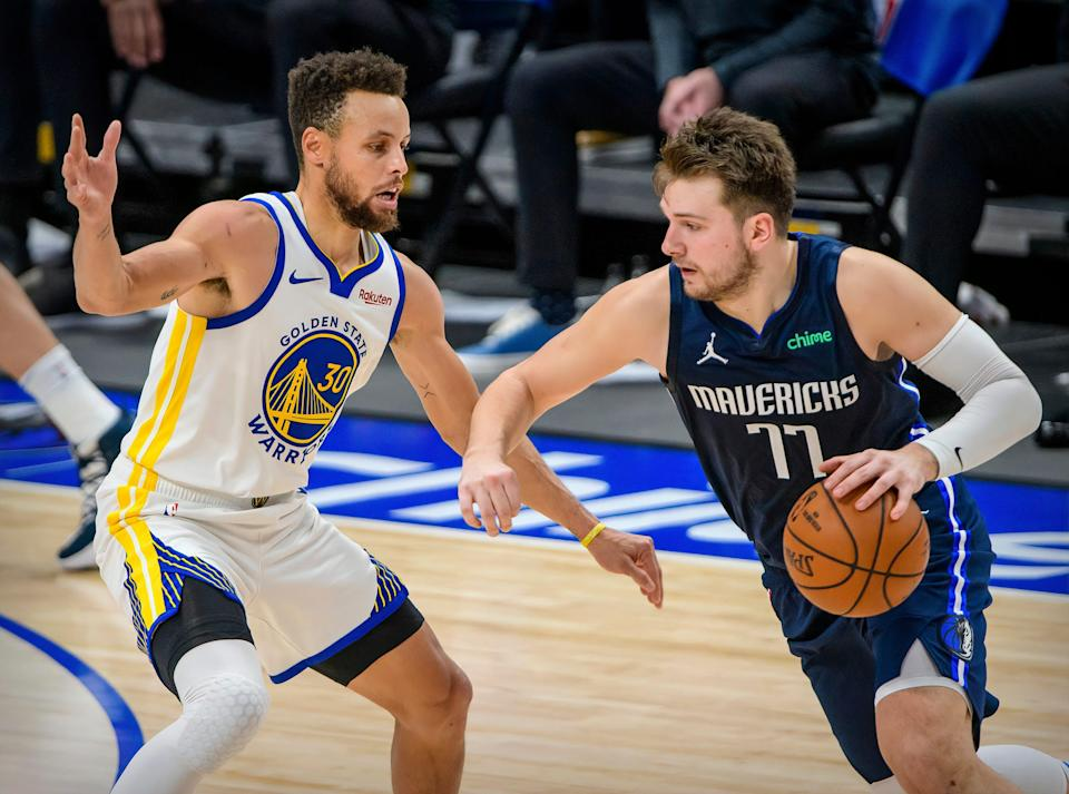 Luka Doncic and the Mavericks and Steph Curry and the Warriors are locked in the thick of the Western Conference play-in race.