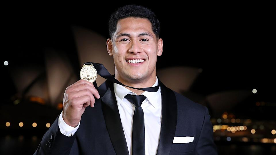 Roger Tuivasa-Sheck is seen here with his 2018 Dally M Medal.