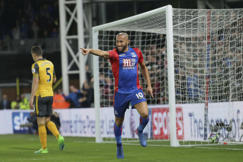 Crystal Palace's Andros Townsend celebrates after scoring a goal during the English Premier League soccer match between Crystal Palace and Arsenal at Selhurst Park in London, Monday April 10, 2017. (AP Photo/Tim Ireland)