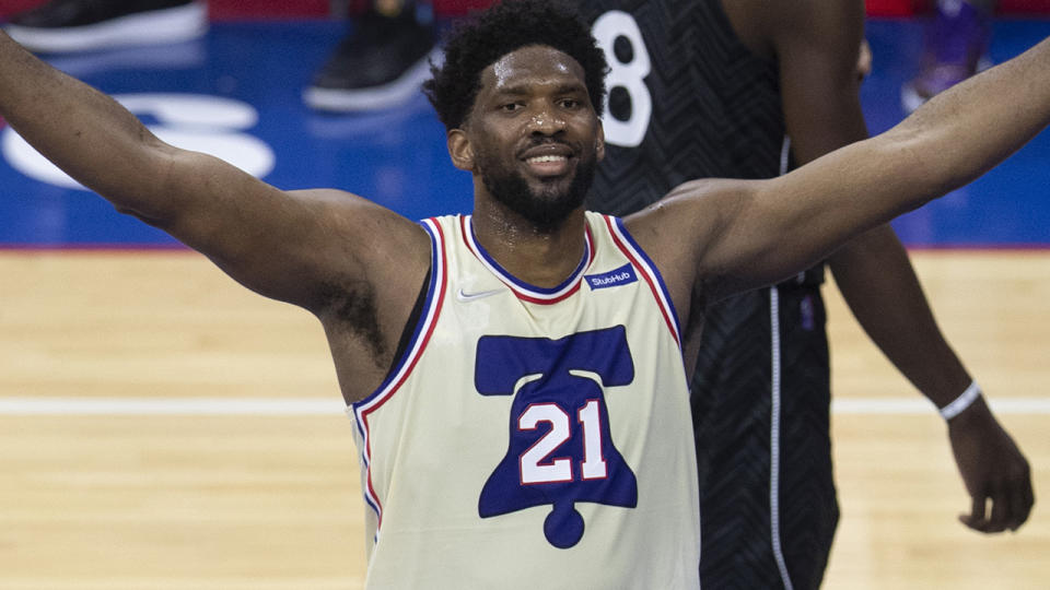 Joel Embiid guided the 76ers to a crucial victory over the Brooklyn Nets. (Photo by Mitchell Leff/Getty Images)