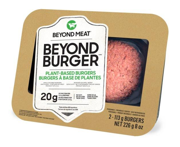 The Beyond Burger will be available in Canadian grocery stores by the end of May.