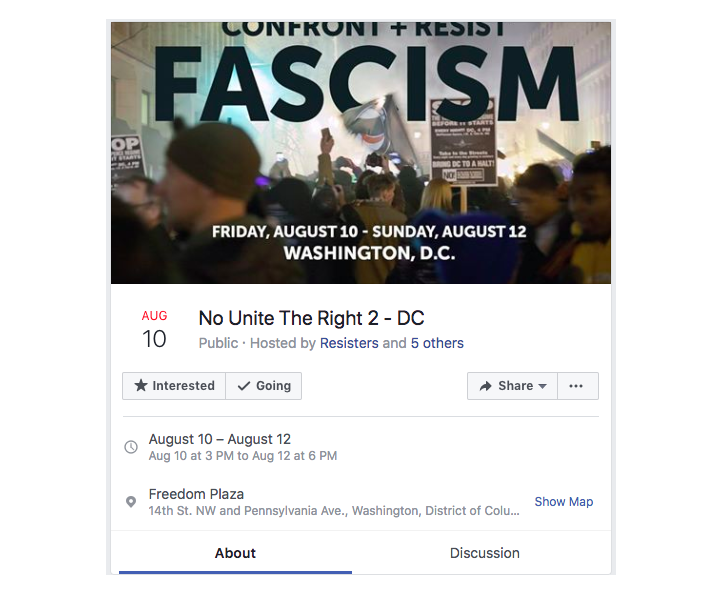 "A protest in Washington, D.C., scheduled to Aug. 10-12 was organized by the ""Resisters"" Facebook page, which Facebook says was involved in ""coordinated inauthentic activity."" (Facebook)"