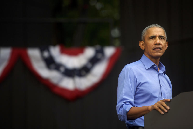 Former President Barack Obama speaks during a campaign rally for Sen. Bob Casey (D-PA) and Pennsylvania Gov. Tom Wolf in Philadelphia in September. On Monday, he released a new list of Democratic candidates that he is endorsing. (Mark Makela via Getty Images)