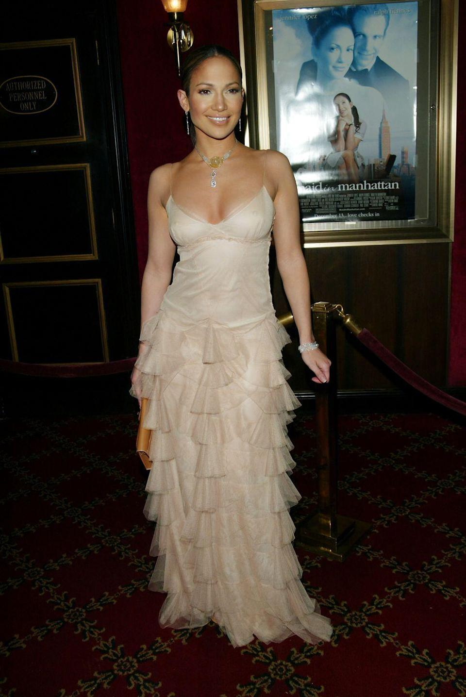 <p><strong>When: </strong>December 2002</p><p><strong>Where: </strong>Maid In Manhattan premiere</p><p><strong>Wearing: </strong>Vera Wang</p>