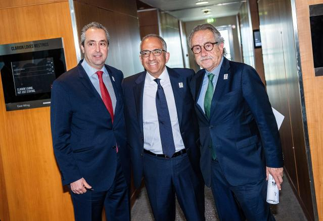 Canada's Peter Montopoli, the United States' Carlos Cordeiro and Mexico's Decio de Maria are driving forces behind the United 2026 bid. (Getty)