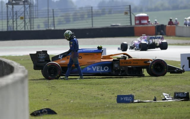 Lando Norris ended up in the barriers