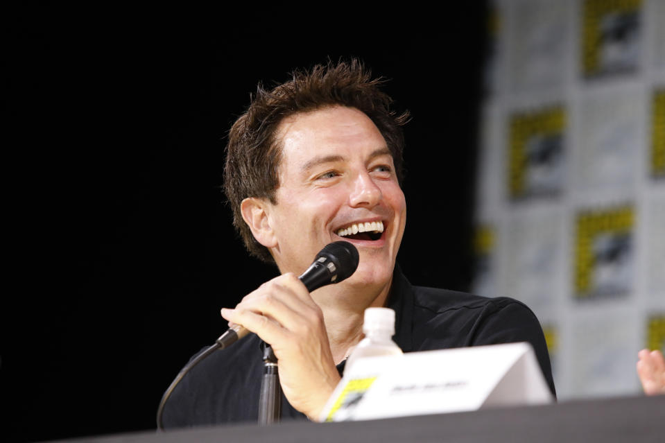 """COMIC-CON INTERNATIONAL: SAN DIEGO -- """"SYFY Hosts The Great Debate Panel"""" -- Pictured: John Barrowman -- (Photo by: Evans Vestal Ward/SYFY/NBCU Photo Bank/NBCUniversal via Getty Images)"""
