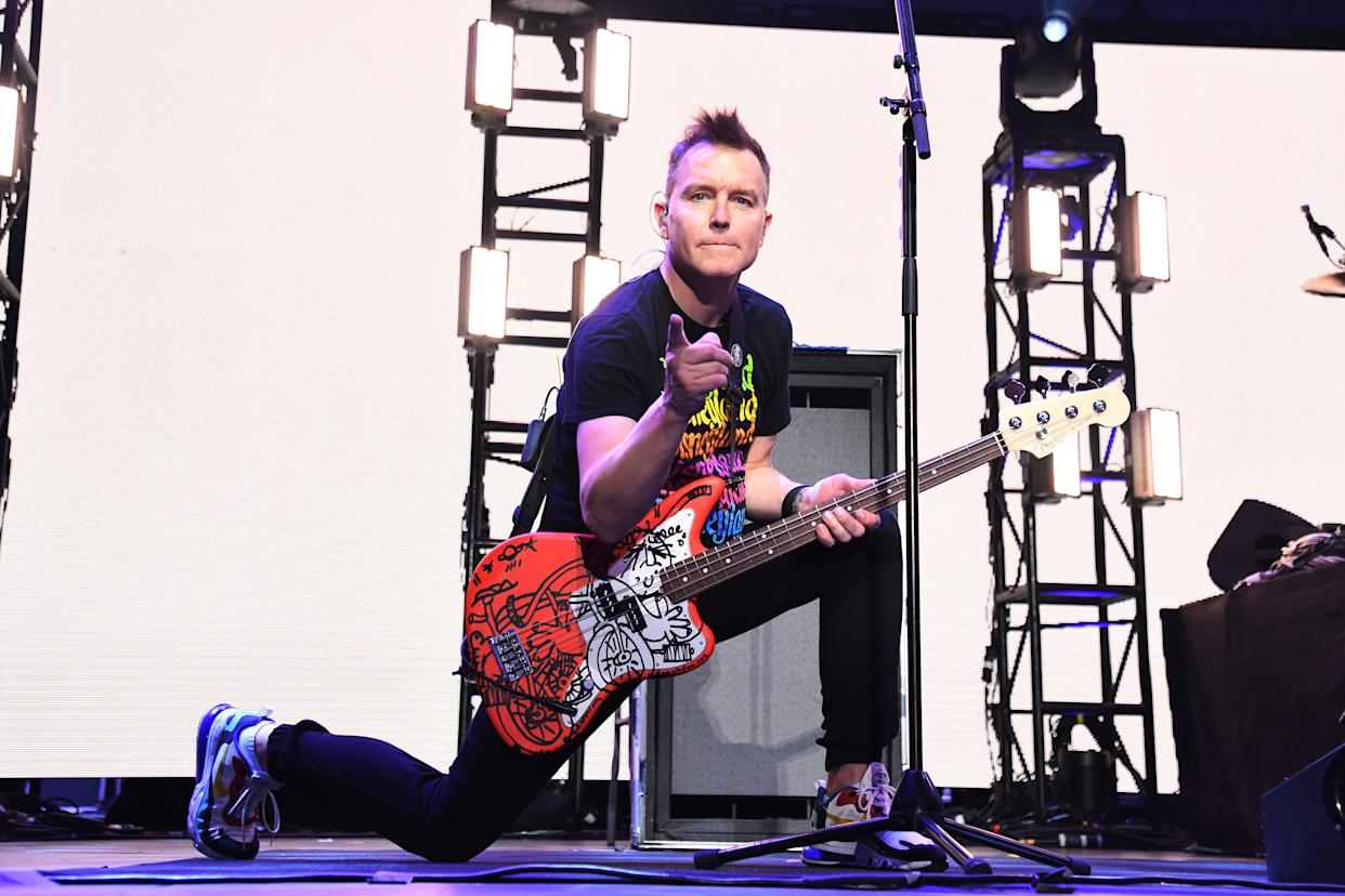 INGLEWOOD, CALIFORNIA - JANUARY 18: (FOR EDITORIAL USE ONLY) Mark Hoppus of blink-182 performs onstage at the 2020 iHeartRadio ALTer EGO at The Forum on January 18, 2020 in Inglewood, California. (Photo by Kevin Mazur/Getty Images for iHeartMedia)