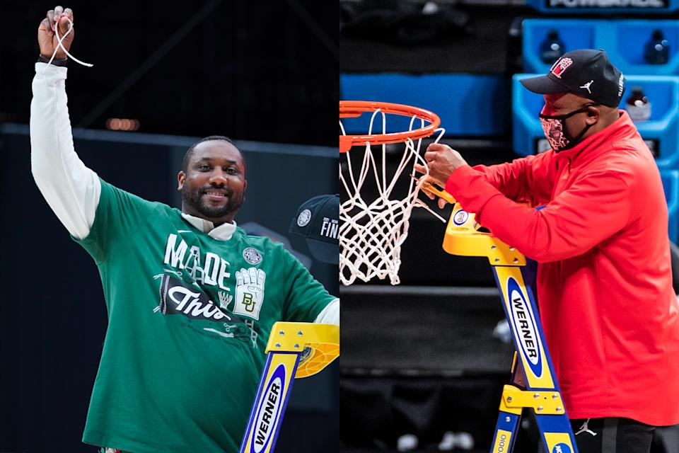 Alvin Brooks III, left, and his father, Alvin Brooks II, will face each other in the Final Four when Baylor takes on Houston. (Courtesy of Baylor and Houston)