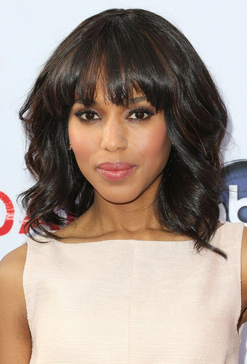 """<p>Thick, jagged bangs that hit just around the eyebrows add a fun effect to a <a href=""""https://www.goodhousekeeping.com/beauty/hair/tips/g1181/celebrity-medium-length-hairstyles/"""" rel=""""nofollow noopener"""" target=""""_blank"""" data-ylk=""""slk:shoulder-length cut"""" class=""""link rapid-noclick-resp"""">shoulder-length cut</a> like Kerry Washington's. </p>"""