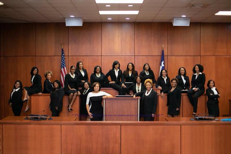 "Harris County, Texas, swore in 17 black female judges this year. This photo shows all of the county's judicial candidates who ran in the midterm elections under the campaign ""Black Girl Magic."""