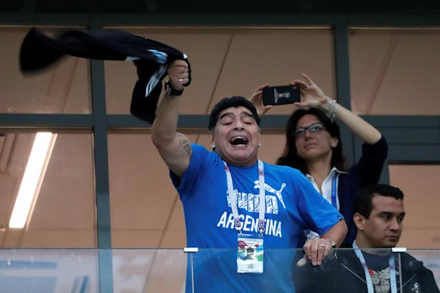 Soccer Football - World Cup - Group D - Argentina vs Croatia - Nizhny Novgorod Stadium, Nizhny Novgorod, Russia - June 21, 2018 Former Argentina player Diego Maradona in the stand before the match REUTERS/Murad Sezer