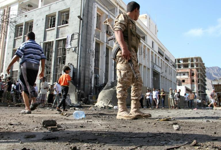 The Yemeni government moved the central bank from the rebel-held capital Sanaa to second city Aden in 2016 but even there attacks are not uncommon, like this suicide bombing nearby on October 29, 2016