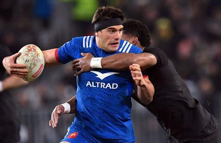 Rugby Union - June Internationals - New Zealand vs France - Forsyth Barr Stadium, Dunedin, New Zealand - June 23, 2018 - Waisake Naholo of New Zealand tackles Kelian Galletier of France. REUTERS/Ross Setford