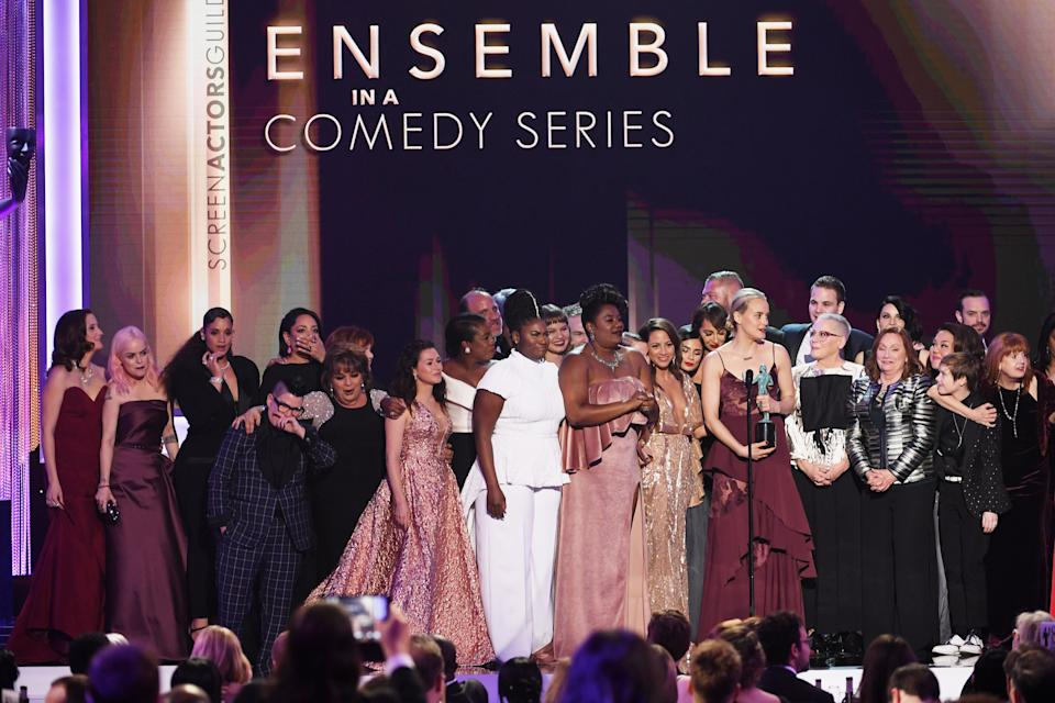 """Taylor Schilling with the cast of """"Orange is the New Black"""" during the 23rd Annual Screen Actors Guild Awards.<br /><br />""""We stand up here representing a diverse group of people, representing generations of families who have sought a better life here, We know that it's going to be up to us and all of you to keep telling stories. What united us is stronger than the forces that seek to divide us."""""""
