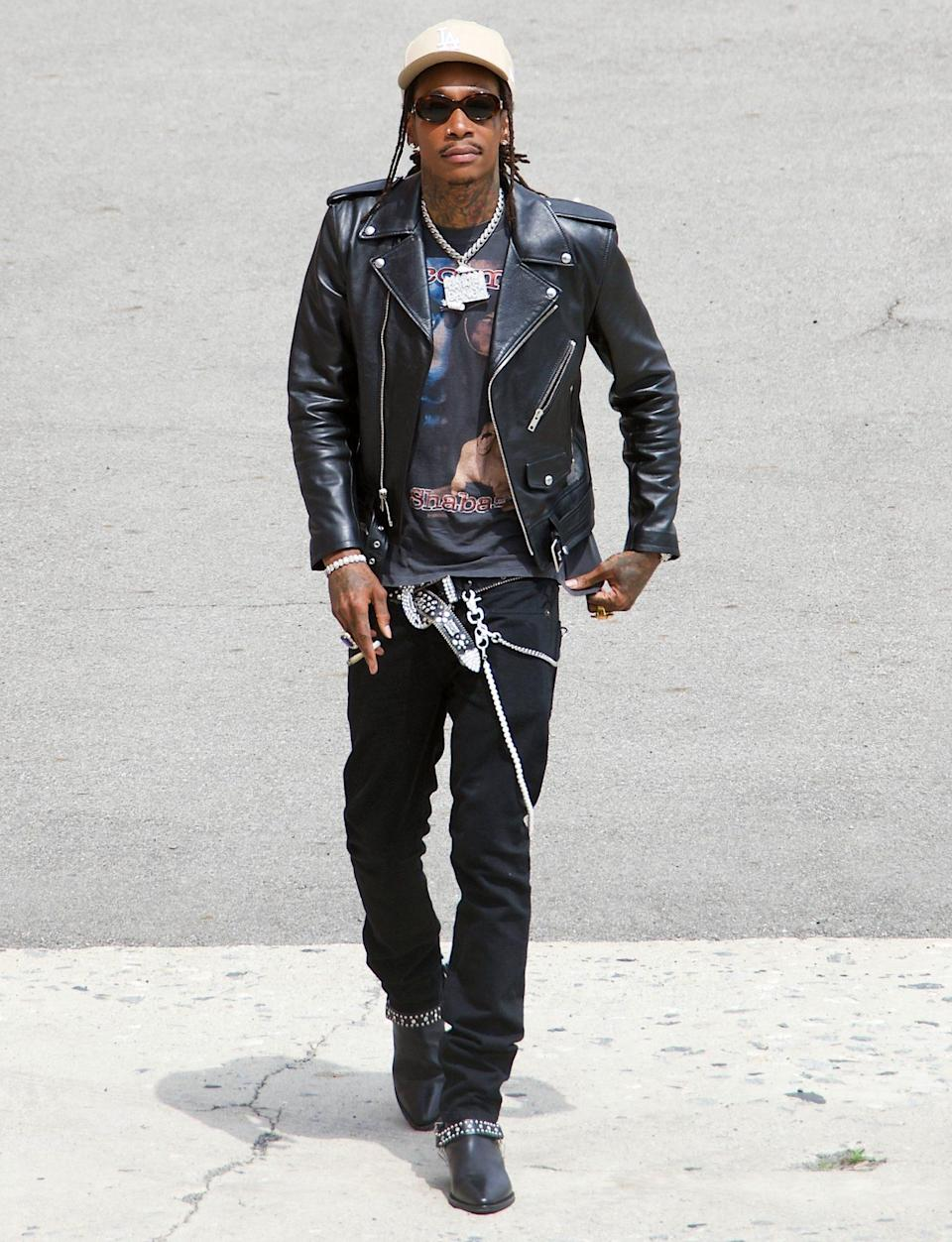 <p>Wiz Khalifa is seen on the set of HBO Max's new street fashion show <i>The Hype</i> on Monday in L.A.</p>