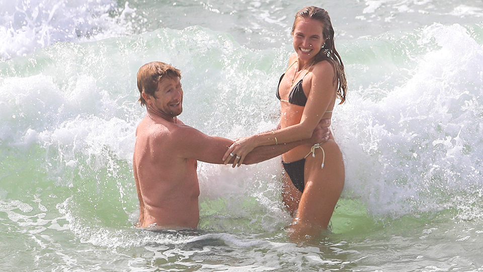 Simon Baker Laura May Gibbs in Byron Bay surf Laura in black bikini new pictures after marriage split