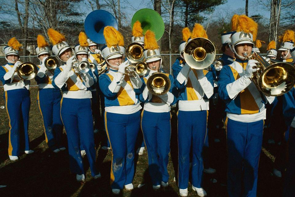 <p>This marching band is in full uniform and ready to entertain at a high school in Hull, MA.</p>