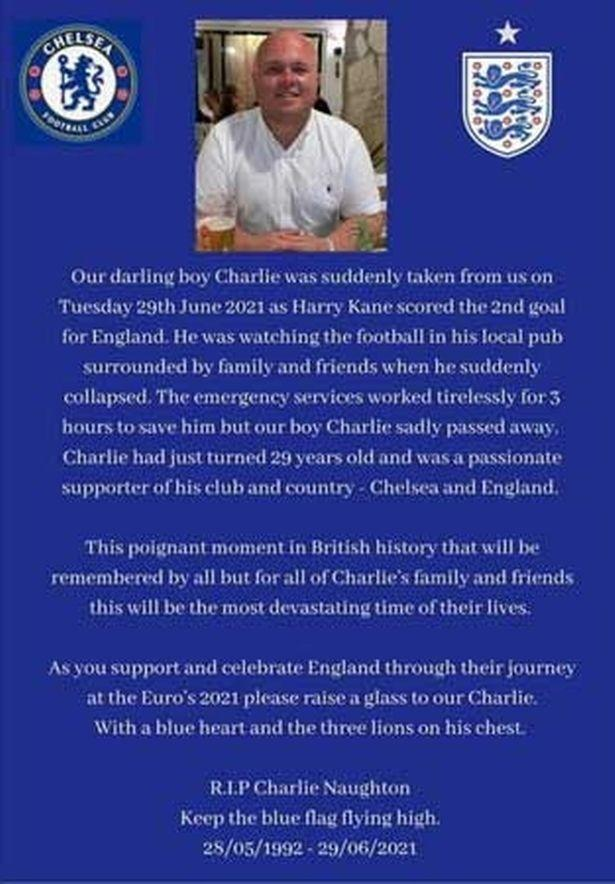 The family paid a loving tribute to the football fan (Handout)