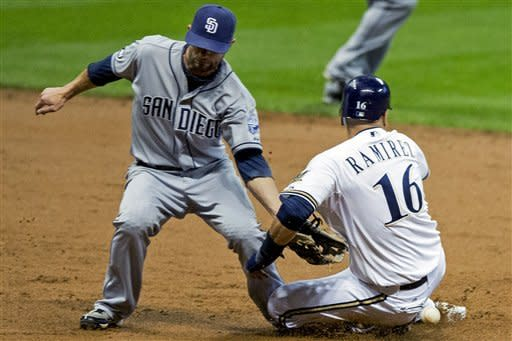 San Diego Padres' Andy Parrino, left, cannot make the tag on Milwaukee Brewers' Aramis Ramirez as Ramirez steals second during the first inning of a baseball game, Wednesday, Oct. 3, 2012, in Milwaukee. (AP Photo/Tom Lynn)