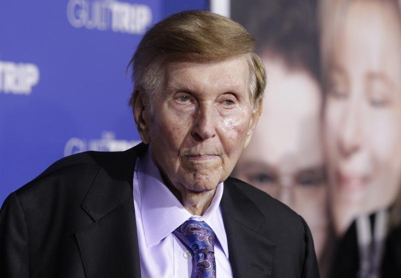 "Redstone, executive chairman of CBS Corp. and Viacom, arrives at premiere of ""The Guilt Trip"" starring Streisand and Rogen in Los Angeles"