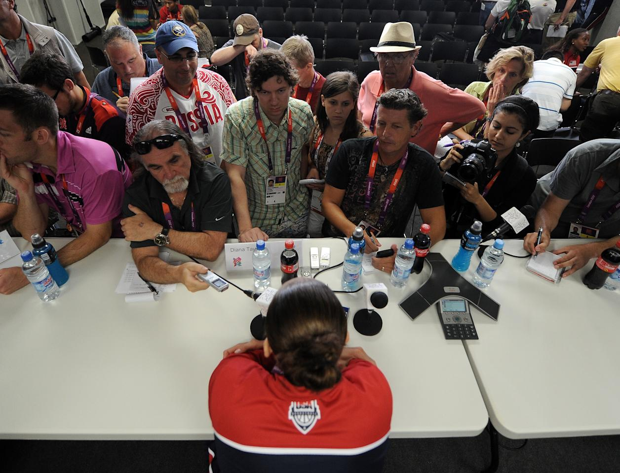 LONDON, ENGLAND - JULY 26:  Diana Taurasi speaks to the media during a United States Women's basketball press conference at the Tower Press Conference Room on July 26, 2012 in London, England.  (Photo by Harry How/Getty Images)