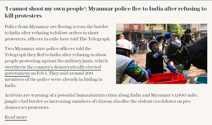 'I cannot shoot my own people': Myanmar police flee to India after refusing to kill protesters