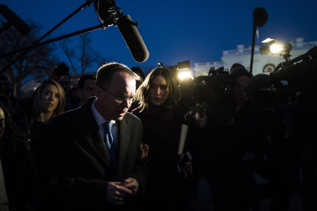 <p>Reporters and members of the media swarm Office of Management and Budget Director Mick Mulvaney as he talks about a possible government shutdown at the White House in Washington, D.C., on Friday, Jan. 19, 2018. (Photo: Jabin Botsford/The Washington Post via Getty Images) </p>