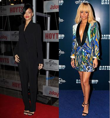 While promoting her movie 'Battleship', Rihanna was spotted in her Manolo Blahniks more than once.