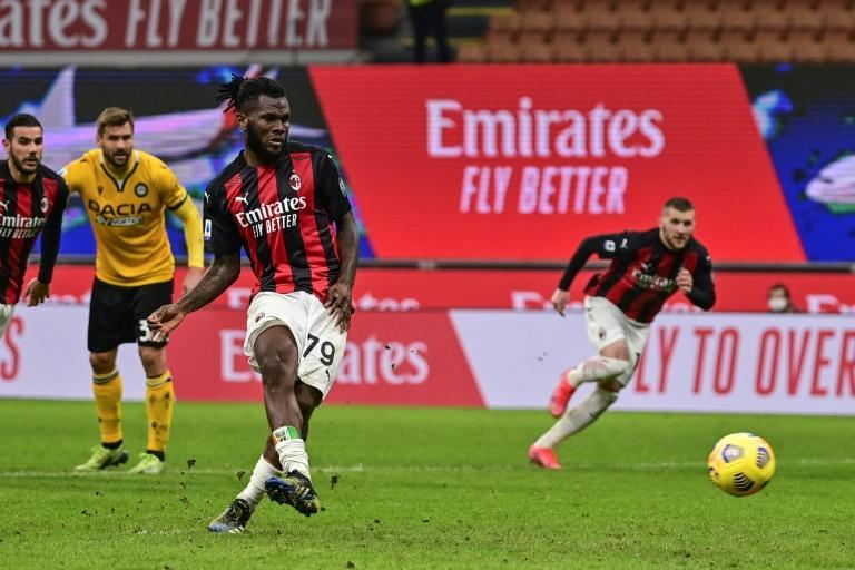 Franck Kessie scored a penalty with the final kick of the match to snatch a point for AC Milan against Udinese