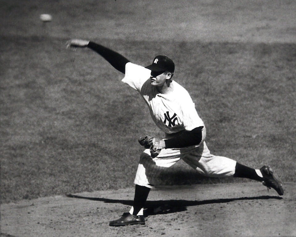 New York Yankees pitcher Don Larsen delivers during his perfect game in Game 5 of the 1956 World Series.