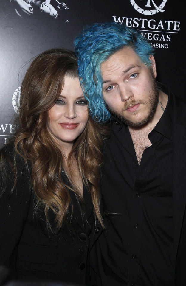 """12 July 2020 - Benjamin Keough, Son of Lisa Marie Presley and Grandson of Elvis Presley, Dead at 27 From Apparent Suicide. File photo: 23 April 2015 - Las Vegas, Nevada - Lisa Marie Presley, Benjamin Keough. Red Carpet Premiere of """"The Elvis Experience"""" Musical Production at The Westgate Las Vegas Resort and Casino. Photo Credit: MJT/AdMedia/MediaPunch /IPX"""